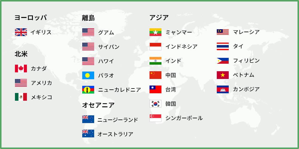 海外の調査対象国